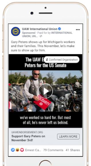 UAW gary peters facebook post